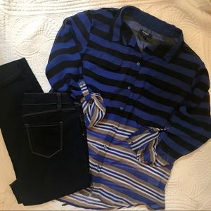 Old Navy Black/Blue/Tan Striped Shear Button up